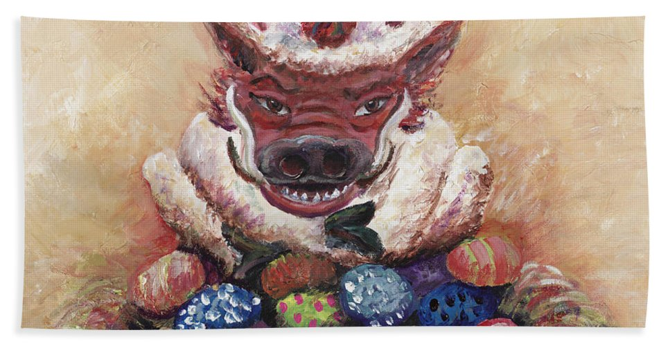 Easter Beach Towel featuring the painting Easter Hog by Nadine Rippelmeyer