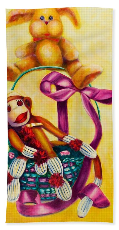 Easter Beach Towel featuring the painting Easter Made Of Sockies by Shannon Grissom