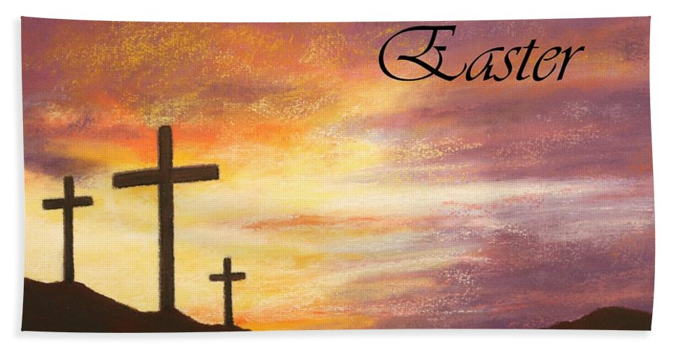 He Is Risen Beach Towel featuring the pastel Easter by Marna Edwards Flavell