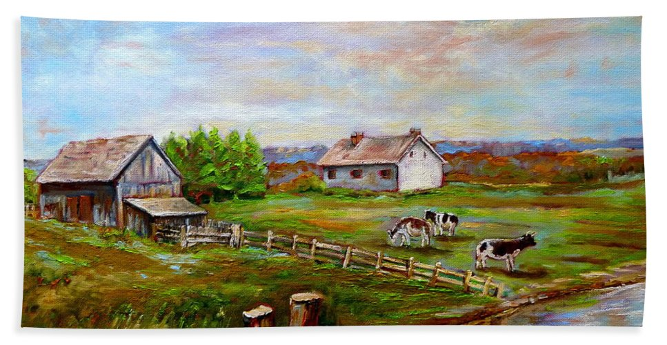 Ile D'orleans Beach Towel featuring the painting Eastern Townships Quebec Country Scene by Carole Spandau