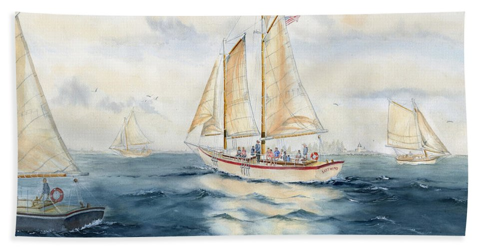 Eastwind Beach Towel featuring the painting Eastwind by Melly Terpening
