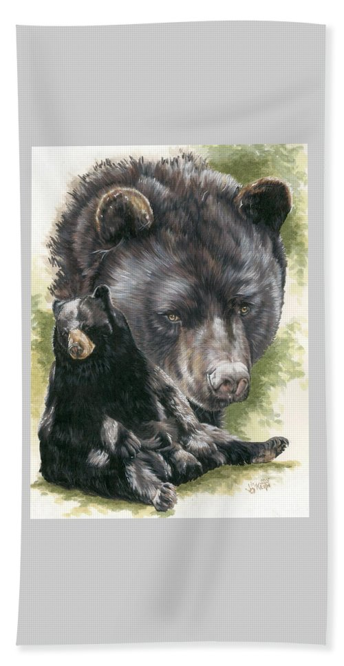 Black Bear Beach Towel featuring the mixed media Ebony by Barbara Keith