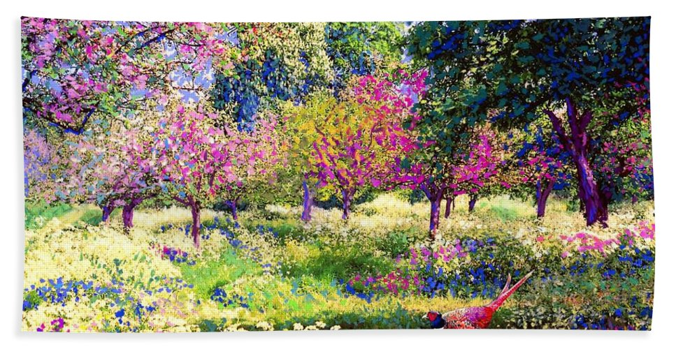 Wildflower Beach Towel featuring the painting Echoes From Heaven, Spring Orchard Blossom And Pheasant by Jane Small