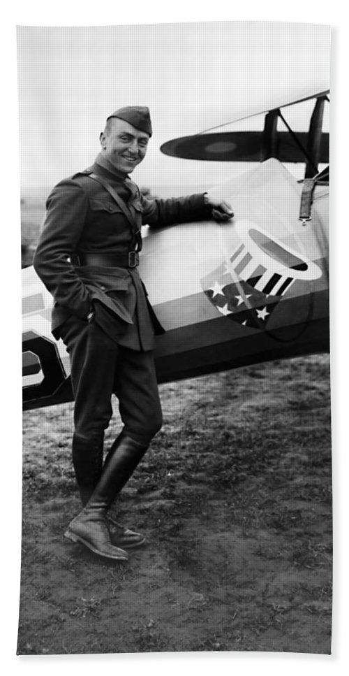 Eddie Rickenbacker Beach Towel featuring the photograph Eddie Rickenbacker - Ww1 American Air Ace by War Is Hell Store