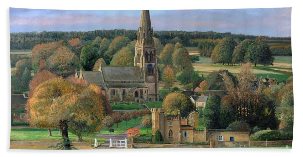 Peak District; Pig; Countryside; English Landscape; Architecture; Church; Village; Estate; Landscape; Chatsworth; Edensor; Chatsworth Park; Tree; Trees; Man Sitting On Bench Beach Towel featuring the painting Edensor - Chatsworth Park - Derbyshire by Trevor Neal