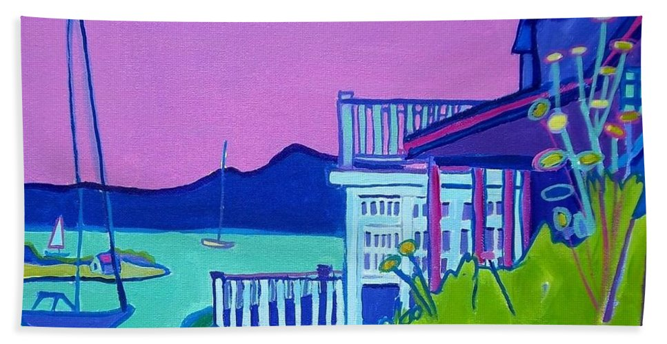 Landscape Beach Towel featuring the painting Edgartown Porches by Debra Bretton Robinson
