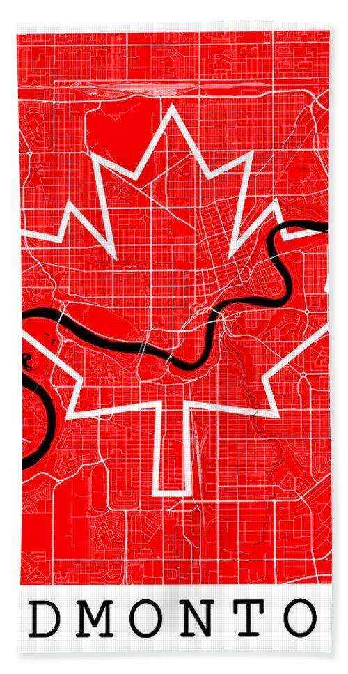 Road Map Beach Towel featuring the digital art Edmonton Street Map - Edmonton Canada Road Map Art On Canada Flag Symbols by Jurq Studio