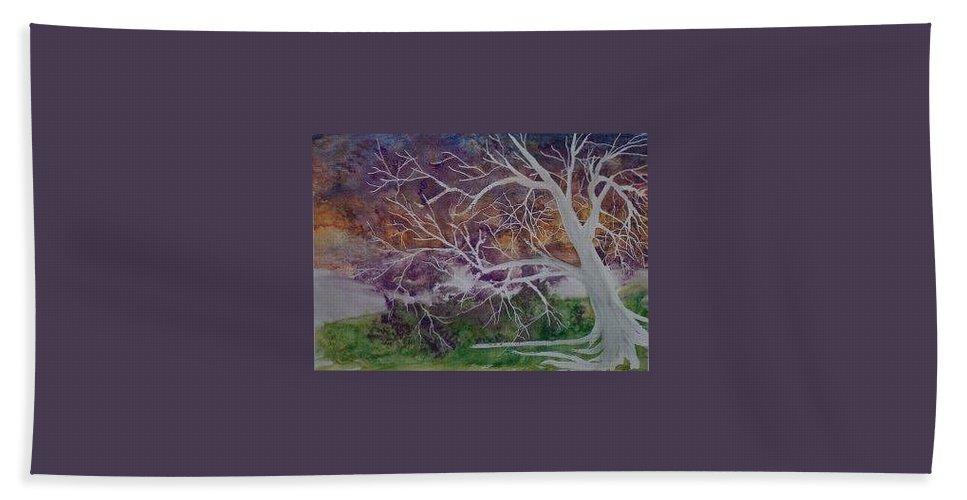 Watercolor Beach Towel featuring the painting Eerie Gothic Landscape Fine Art Surreal Print by Derek Mccrea