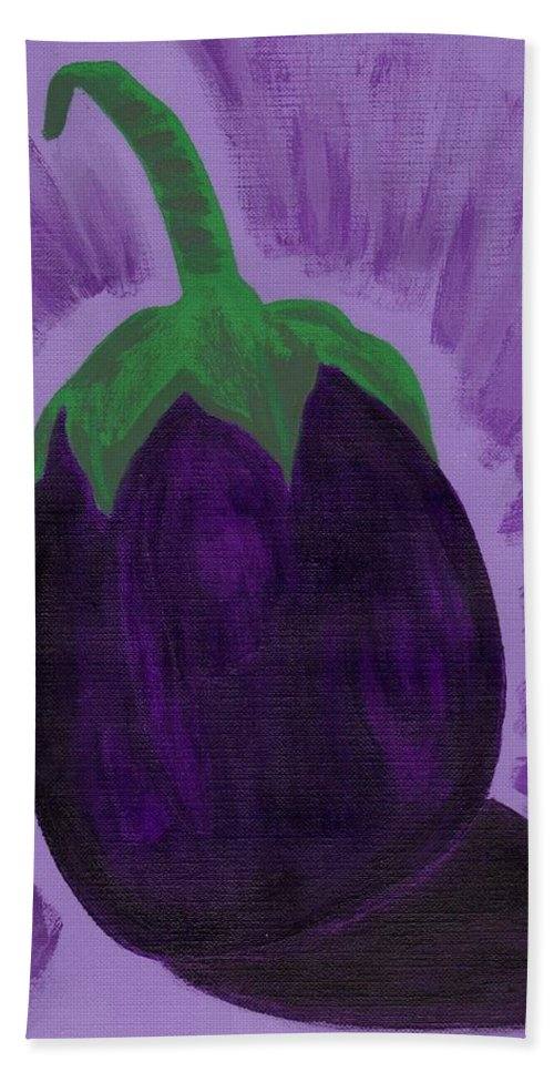 Purple Beach Towel featuring the painting Eggplant by Jill Christensen