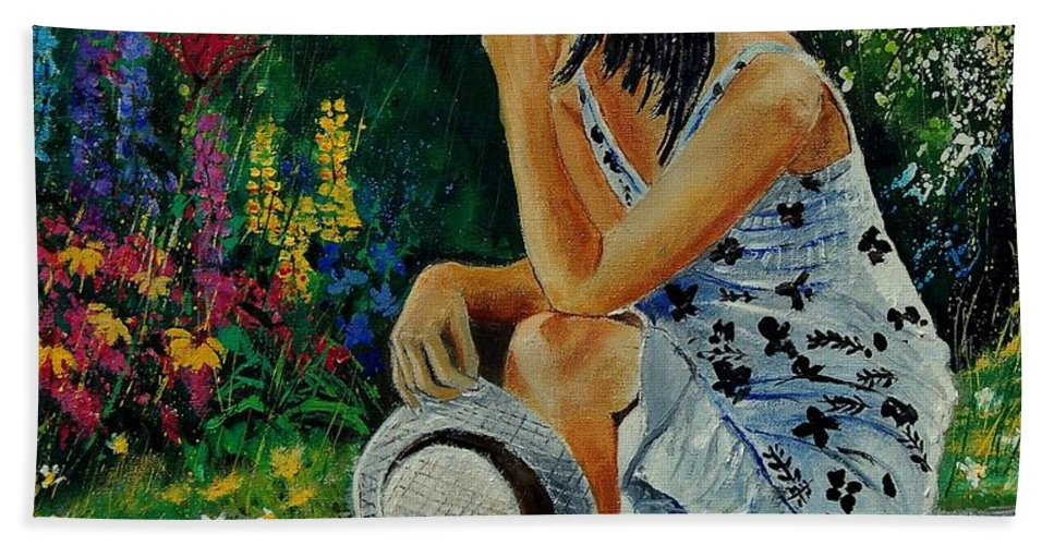 Girl Beach Towel featuring the painting Eglantine 679001 by Pol Ledent