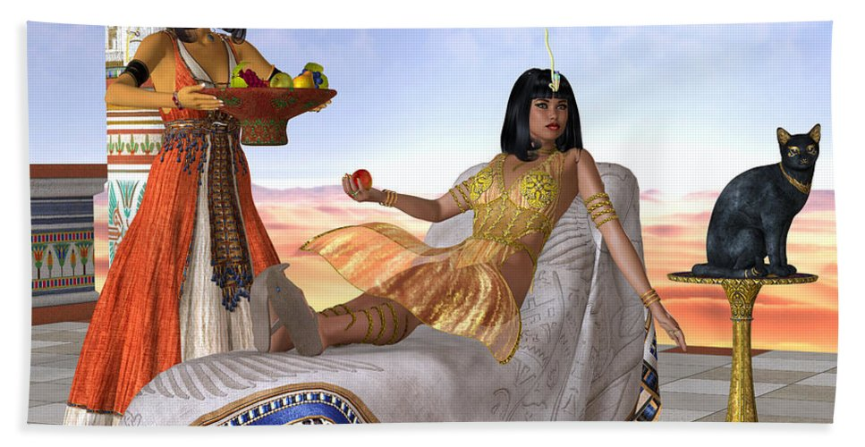 Cleopatra Beach Towel featuring the painting Egyptian Cleopatra by Corey Ford