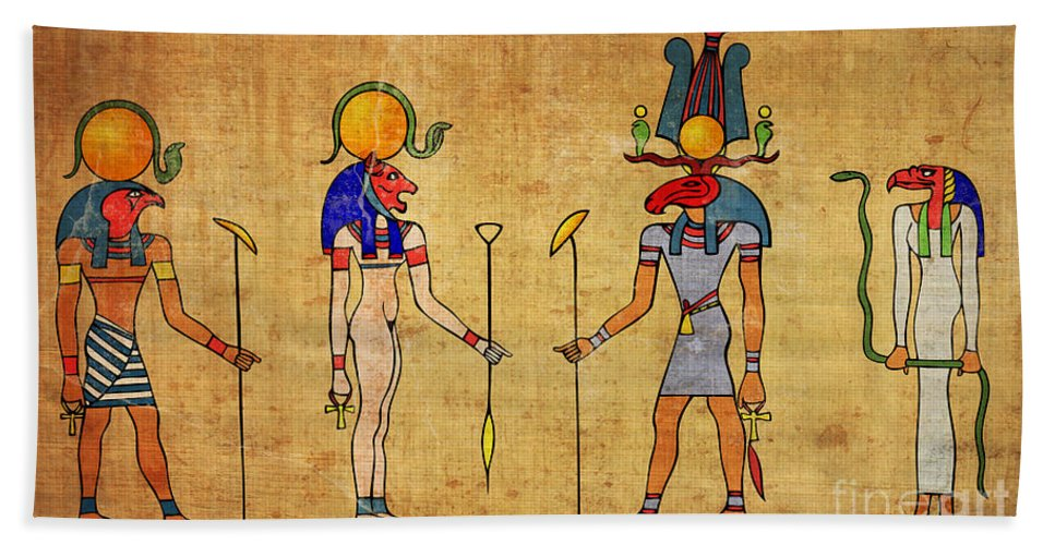Egypt Beach Towel featuring the digital art Egyptian Gods And Goddness by Michal Boubin