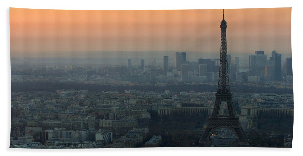 Eiffel Beach Towel featuring the photograph Eiffel Tower At Dusk by Sebastian Musial
