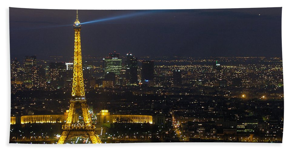 Eiffel Beach Towel featuring the photograph Eiffel Tower At Night by Sebastian Musial