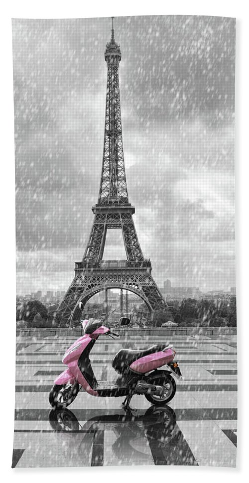White Beach Towel featuring the digital art Eiffel Tower In The Rain With Pink Scooter Of Paris. Black And W by Cranach Studio