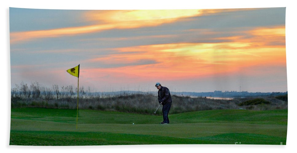 Golf Course Beach Towel featuring the photograph Eighteenth Green At Sunset by Catherine Sherman