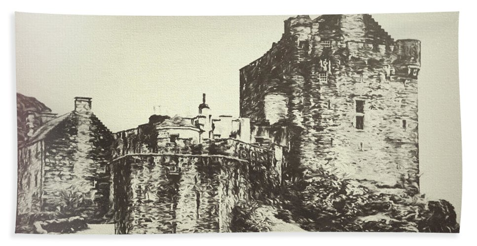 Eilean Donan Castle Beach Towel featuring the digital art Eilean Donan Castle by Nicci Frescamente