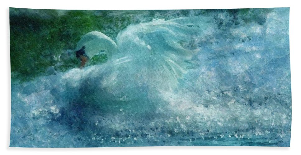 Impressionism Beach Towel featuring the painting Ein Schwan - The Swan by Georgiana Romanovna