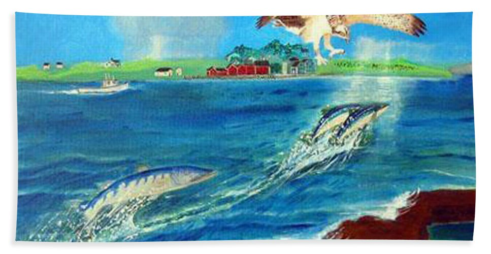 Osprey Beach Towel featuring the painting Either Way by Richard Le Page