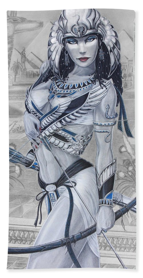 Egypt Beach Towel featuring the drawing Ejo Nefersati by Kristopher VonKaufman