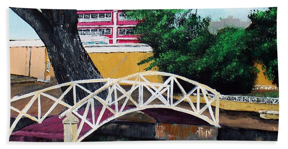 Aguadilla Beach Towel featuring the painting El Parterre by Luis F Rodriguez