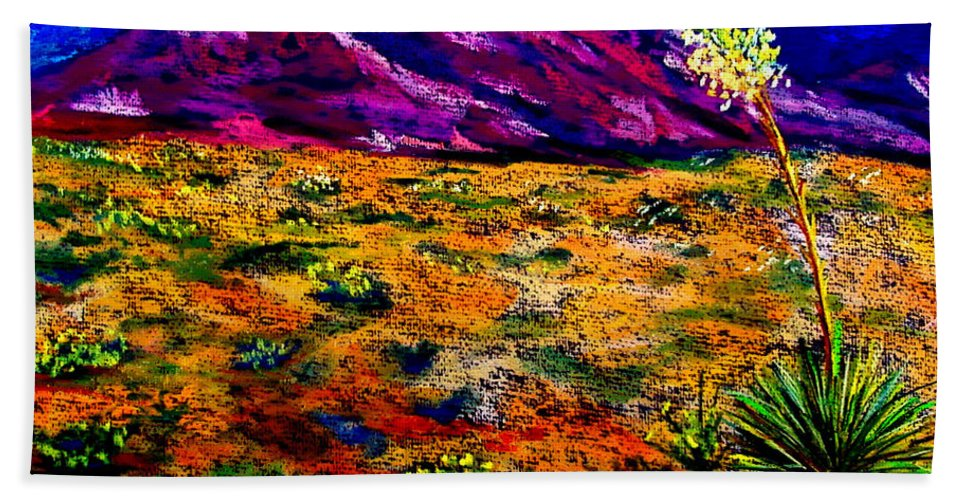 Yucca Beach Towel featuring the painting El Paso by Melinda Etzold