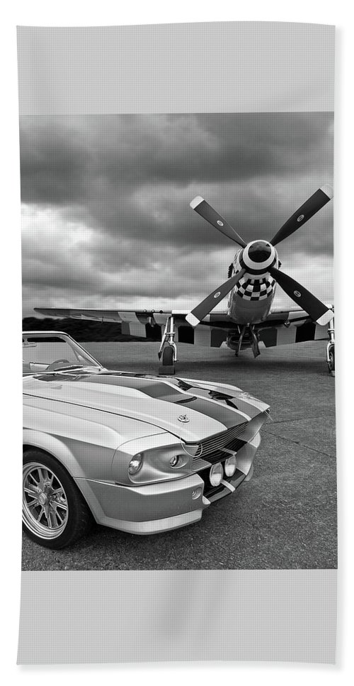 Old Ford Mustang Beach Towel featuring the photograph Eleanor Mustang With P51 Black And White by Gill Billington