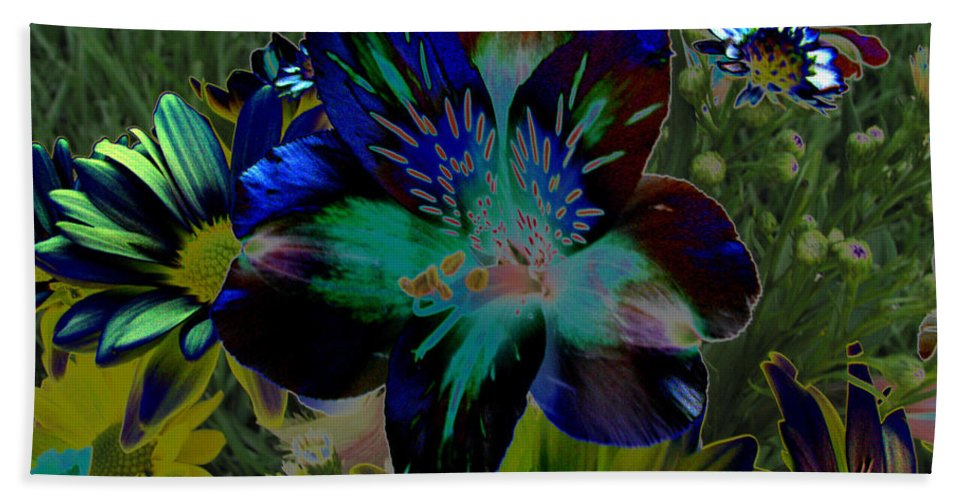 Art For The Wall...patzer Photography Beach Towel featuring the photograph Electric Lily by Greg Patzer