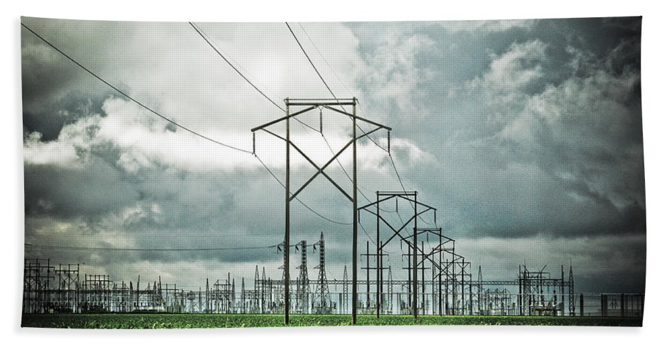 Electric Beach Sheet featuring the photograph Electric Lines And Weather by Marilyn Hunt
