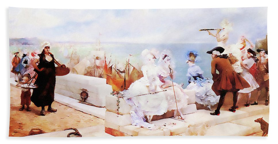 Landscape Beach Towel featuring the painting Elegant Figures Watching The Regatta by Media Impasto Paper