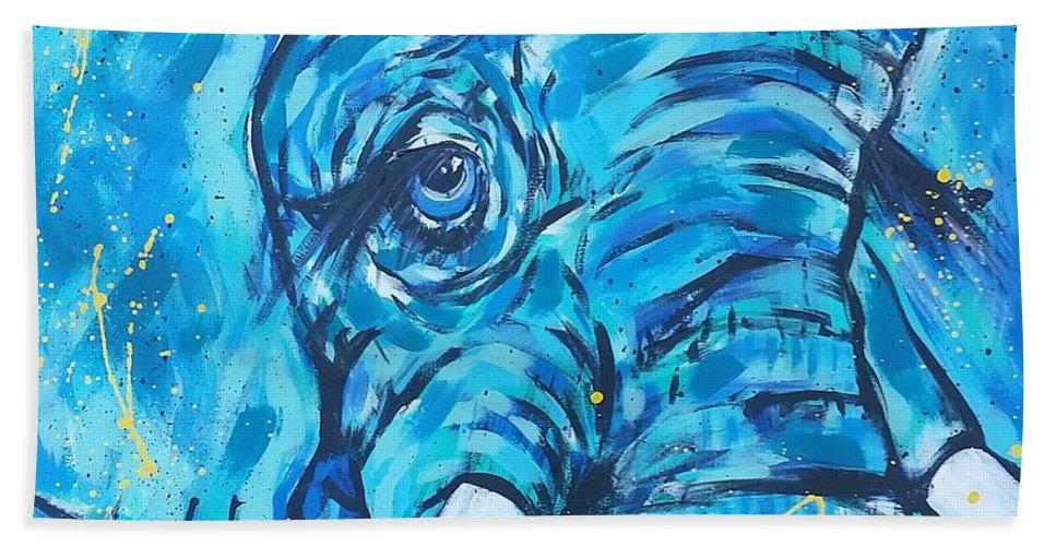 Acrylic Elephant Beach Towel featuring the painting Elephant #3 by Arrin Burgand