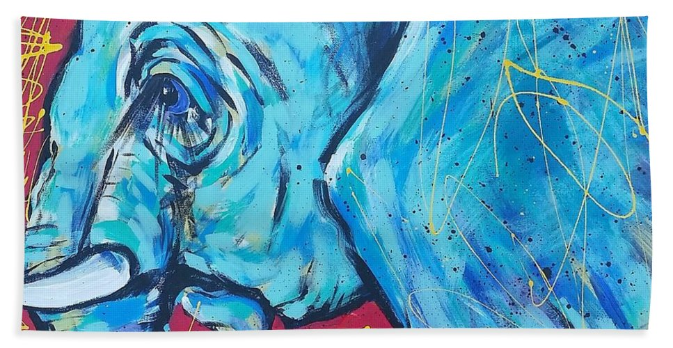 Side View Elephant Beach Towel featuring the painting Elephant #4 by Arrin Burgand