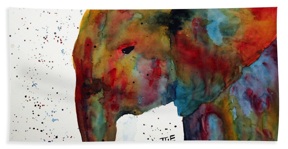 Elephant Beach Towel featuring the painting Elephant by Connie Beattie