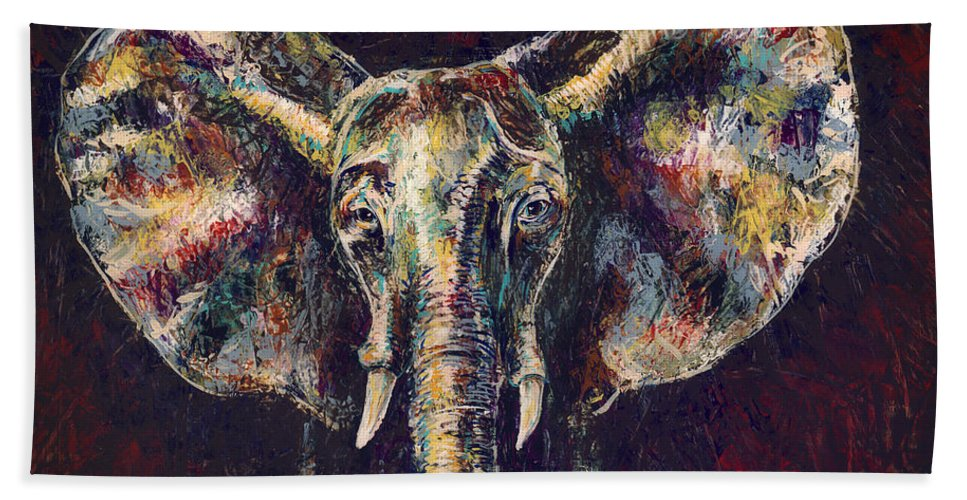 Green Beach Towel featuring the painting Elephant Ears by Lovejoy Creations