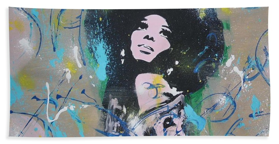 Diana Ross Beach Towel featuring the painting Eletric Ross by Antonio Moore
