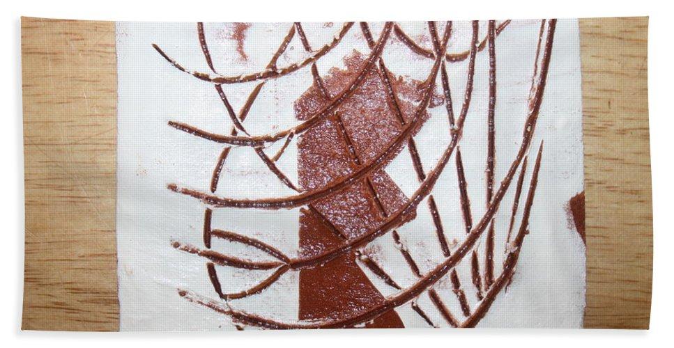 Jesus Beach Towel featuring the ceramic art Elise - Tile by Gloria Ssali