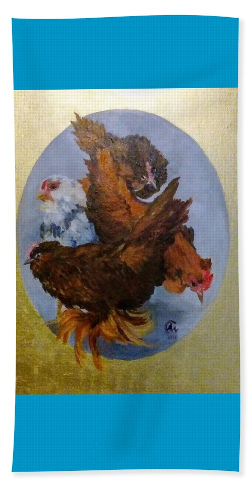 Nature Beach Towel featuring the painting Elizabeth's Chickens by Angelina Whittaker Cook