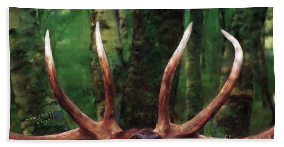 Elk Beach Towel featuring the painting Elk Call by Rob Corsetti