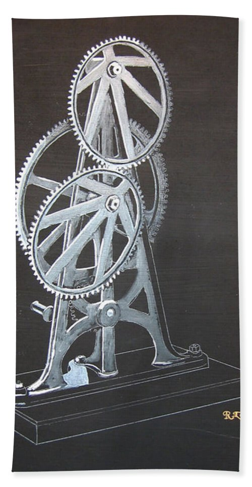 Elliptical Gears Beach Towel featuring the painting Elliptical Gears by Richard Le Page