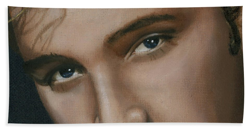 Elvis Beach Towel featuring the painting Elvis 24 1955 by Rob De Vries