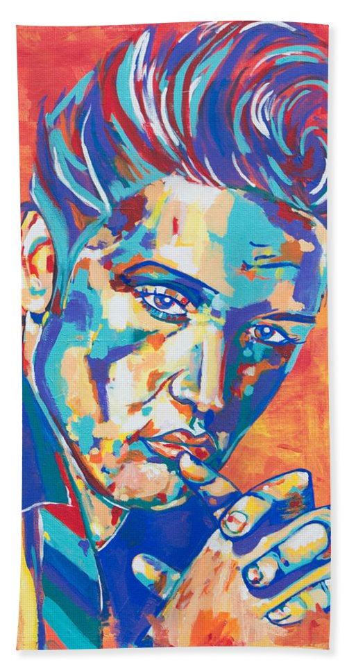 Elvis Presley Beach Towel featuring the painting Elvis by Janice Westfall