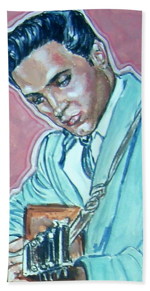 Elvis Presley Beach Towel featuring the painting Elvis Presley by Bryan Bustard