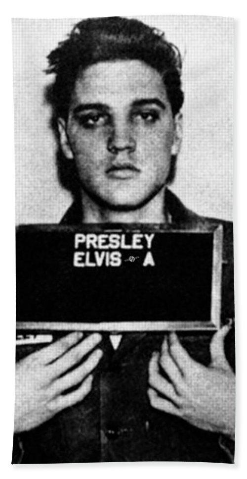 Elvis Presley Beach Towel featuring the painting Elvis Presley Mug Shot Vertical 1 by Tony Rubino