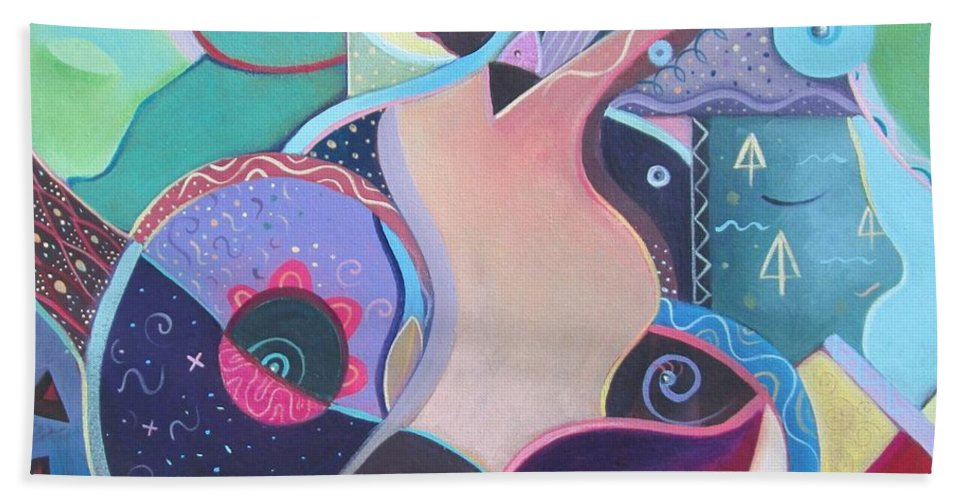 Abstract Beach Towel featuring the painting Embrace by Helena Tiainen