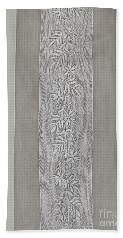 Beach Towel featuring the drawing Embroidered Panel For Sleeve by Gordena Jackson