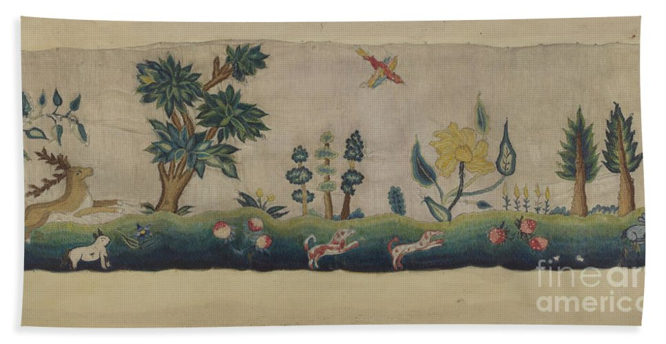 Beach Towel featuring the drawing Embroidered Petticoat Border by Lawrence Peterson