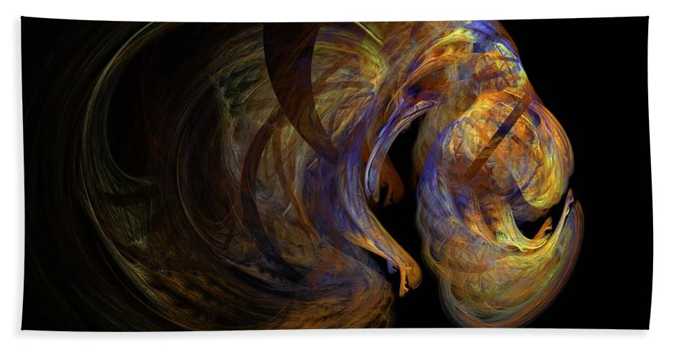 Abstract Digital Photo Beach Towel featuring the digital art Embryonic by David Lane