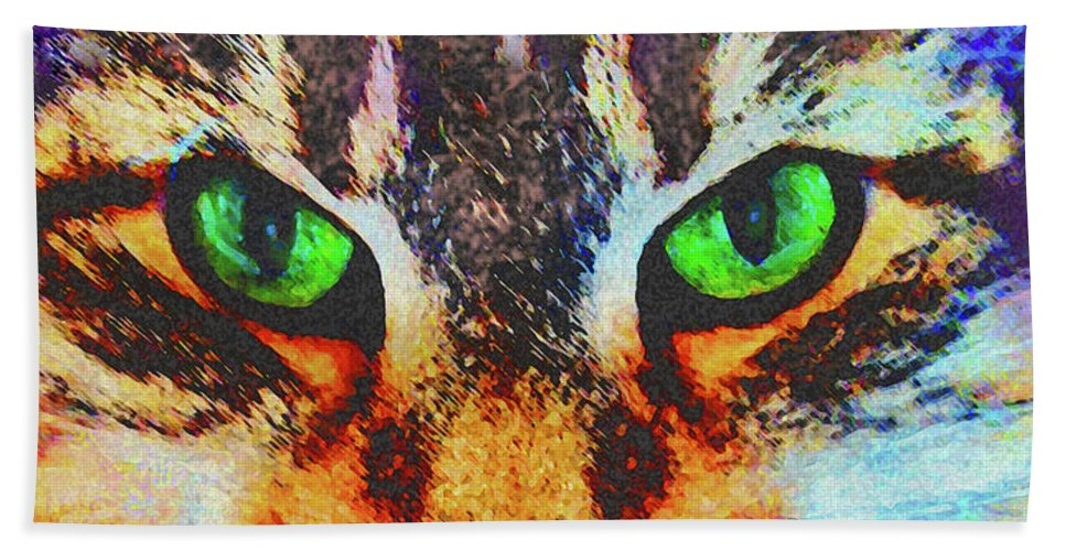 Emerald Gaze Beach Towel featuring the digital art Emerald Gaze by John Beck