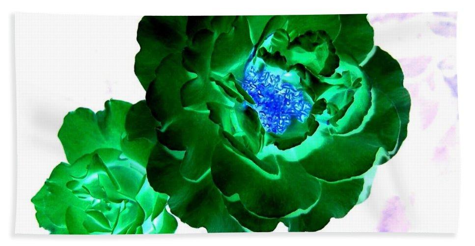 Rose Beach Sheet featuring the digital art Emerald Rose by Will Borden