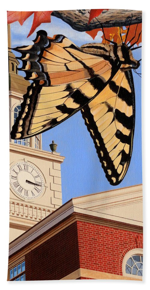 Emergence Of The Butterfly Beach Towel featuring the painting Emergence Of The Butterfly by Christopher Spicer